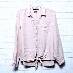 Harve Benard: Pink Linen Button Up Tie Front Shirt